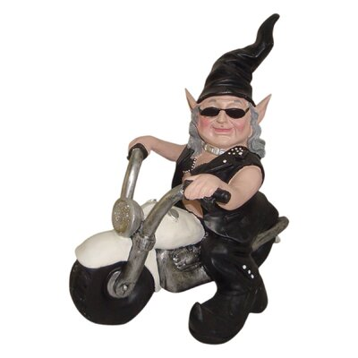 "Nowaday Gnomes Born-to-Ride ""Biker Babe the Gnome"" in Full Leather Motorcycle Gear Riding Her White Bike Statue 33140"
