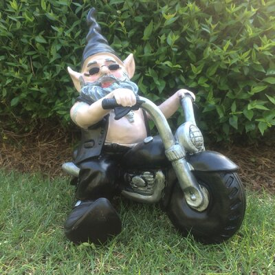 "Nowaday Gnomes Born-to-Ride ""Biker the Gnome"" in Full Leather Motorcycle Gear Riding His Black Bike Statue 33020"