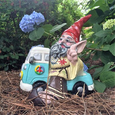 "Hippie Dude ""Jerry"" Gnome on VW Bus Statue 35328"