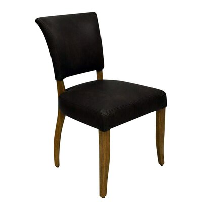 Rudy Genuine Leather Upholstered Dining Chair Upholstery Color: Antique Black