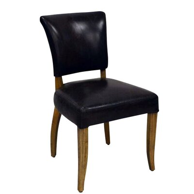 Rudy Genuine Leather Upholstered Dining Chair Upholstery Color: Retro Black
