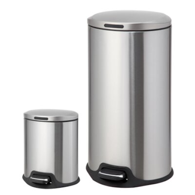 2-Piece Stainless Steel Trash Can Set VA40912G-1