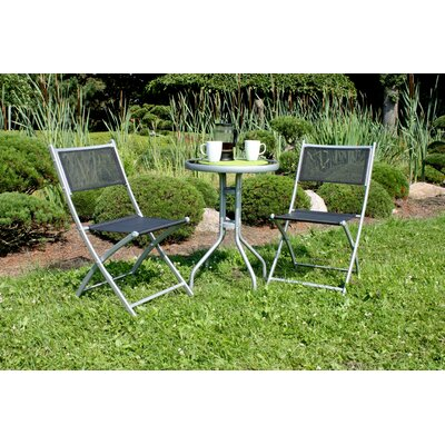 2-Sitzer Balkonset Weisner | Garten > Balkon > Balkon-Sets | Blackgraysilver | Metall - Rattan - Kunststoff - Glas - Lack - Stahl | Lynton Garden