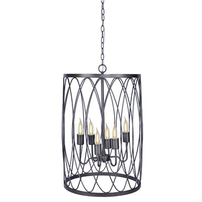 6-Light Drum Pendant Finish: Cast Iron