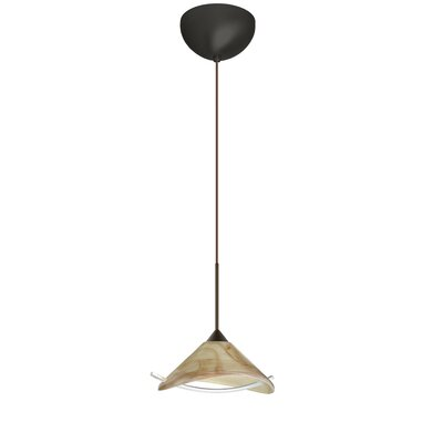 Hoppi 1 Light Mini Pendant Finish: Bronze, Glass Shade: Mocha/Clear, Bulb Type: Incandescent