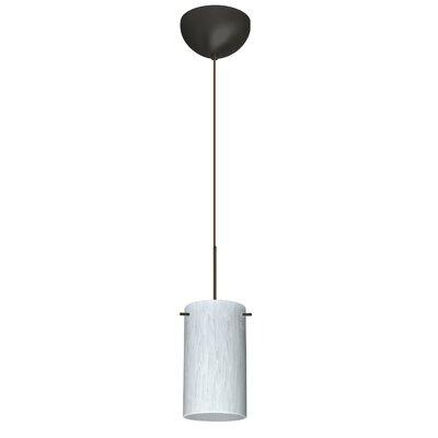 Stilo 1 Light Mini Pendant Finish: Bronze, Glass Shade: Carrera, Bulb Type: LED