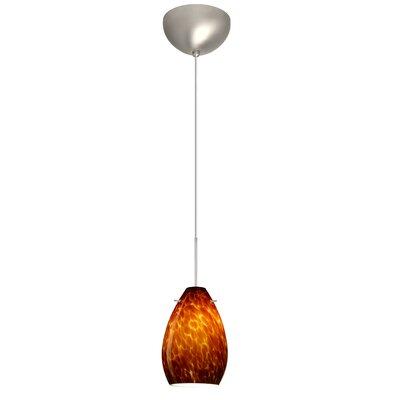 Pera 1 Light Mini Pendant Finish: Satin Nickel, Glass Shade: Amber Cloud, Bulb Type: Incandescent