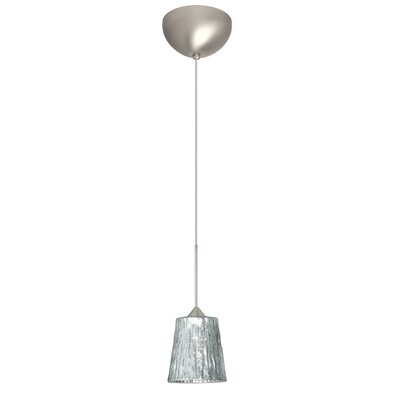 Nico 1 Light Mini Pendant Finish: Satin Nickel, Glass Shade: Stone Silver Foil, Bulb Type: LED