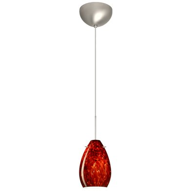 Pera 1 Light Mini Pendant Finish: Satin Nickel, Glass Shade: Garnet, Bulb Type: Incandescent