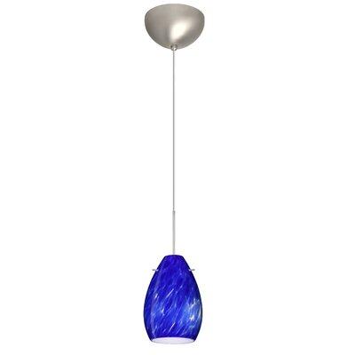 Pera 1 Light Mini Pendant Finish: Satin Nickel, Glass Shade: Blue Cloud, Bulb Type: Incandescent