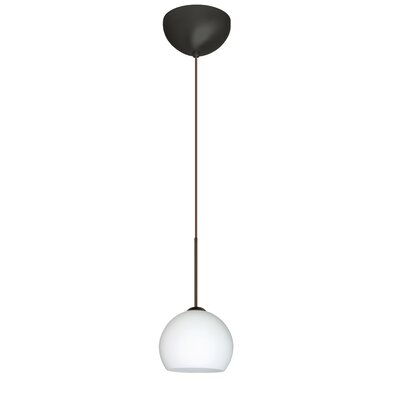Palla 1 Light Mini Pendant Finish: Bronze, Glass Shade: Opal Matte, Bulb Type: LED