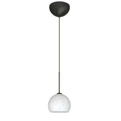 Palla 1 Light Mini Pendant Finish: Bronze, Glass Shade: Carrera, Bulb Type: LED