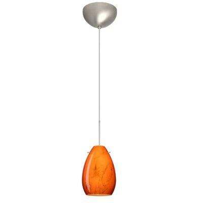 Pera 1 Light Mini Pendant Finish: Satin Nickel, Glass Shade: Habanero, Bulb Type: LED