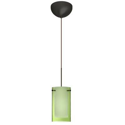 Pahu 1 Light Mini Pendant Finish: Bronze, Glass Shade: Transparent Olive / Opal, Bulb Type: Incandescent