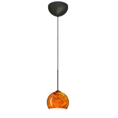 Palla 1 Light Mini Pendant Finish: Bronze, Glass Shade: Habanero, Bulb Type: LED