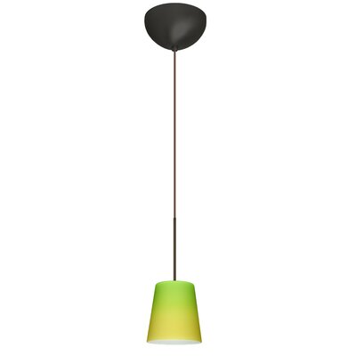 Canto 1 Light Mini Pendant Finish: Bronze, Glass Shade: Bicolor Green/Yellow, Bulb Type: LED