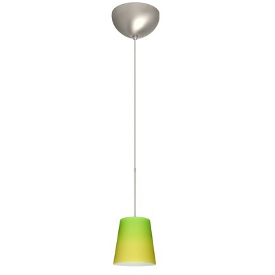 Canto 1 Light Mini Pendant Finish: Satin Nickel, Glass Shade: Bicolor Green/Yellow, Bulb Type: Incandescent