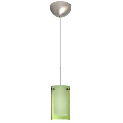 Pahu 1 Light Mini Pendant Finish: Satin Nickel, Glass Shade: Transparent Olive/Opal, Bulb Type: LED