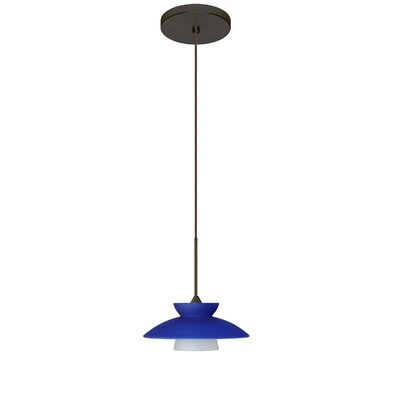 Trilo 1-Light Mini Pendant Bulb Type: Halogen, Finish: Bronze, Shade Color: Blue Matte 1XT-271823-BR