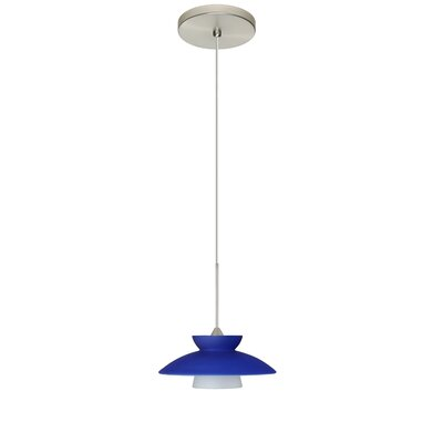 Trilo 1-Light Mini Pendant Finish: Satin Nickel, Shade Color: Blue Matte, Bulb Type: LED
