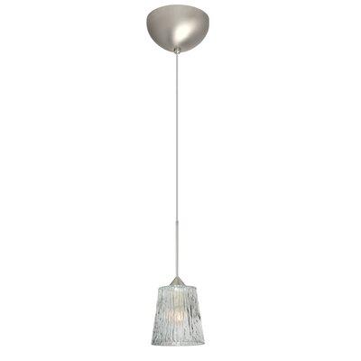 Nico 1 Light Mini Pendant Finish: Satin Nickel, Glass Shade: Clear Stone, Bulb Type: Incandescent