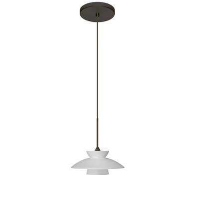 Trilo 1-Light Mini Pendant Bulb Type: Halogen, Finish: Bronze, Shade Color: Frost