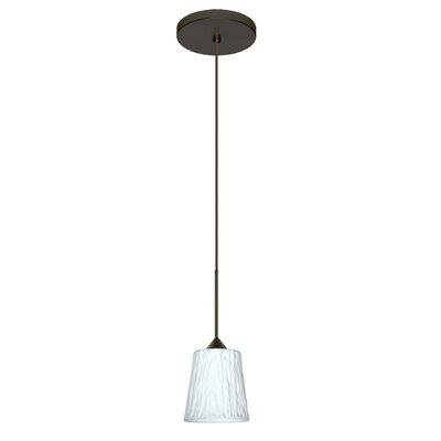 Nico 1-Light Mini Pendant Finish: Bronze, Bulb Type: LED, Shade Color: Opal Stone