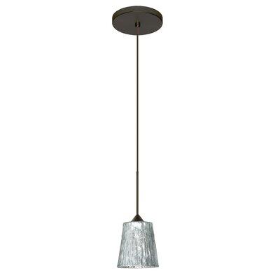Nico 1 Integrated Bulb Mini Pendant Finish: Bronze, Shade Color: Stone Silver Foil, Bulb Type: LED