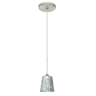Nico 1 Integrated Bulb Mini Pendant Finish: Satin Nickel, Shade Color: Stone Silver Foil, Bulb Type: Halogen