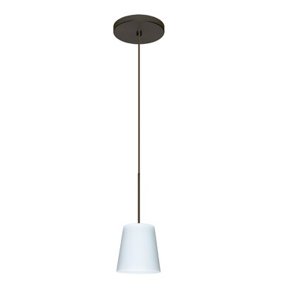 Canto 1 LED Integrated Bulb Mini Pendant Bulb Type: Halogen, Finish: Bronze, Shade Color: Opal Matte