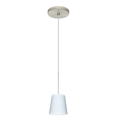 Canto 1 Integrated Bulb Mini Pendant Finish: Satin Nickel, Shade Color: Opal Matte, Bulb Type: Halogen