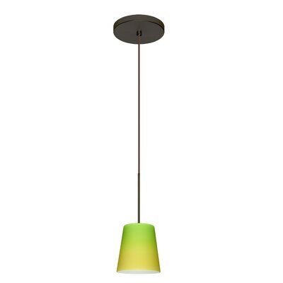 Canto 1 Integrated Bulb Mini Pendant Finish: Bronze, Shade Color: Bicolor Green/Yellow, Bulb Type: LED