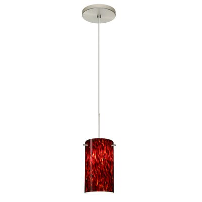 Stilo 1 Integrated Bulb Mini Pendant Finish: Satin Nickel, Shade Color: Garnet, Bulb Type: Halogen