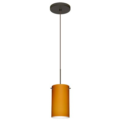 Stilo 1 LED Integrated Bulb Mini Pendant Finish: Bronze, Shade Color: Amber Matte, Bulb Type: Halogen