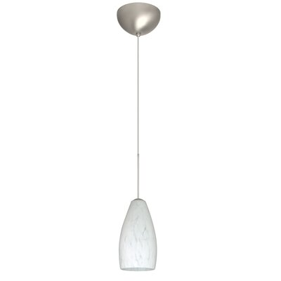 Karli 1 Light Mini Pendant Finish: Satin Nickel, Glass Shade: Carrera, Bulb Type: LED