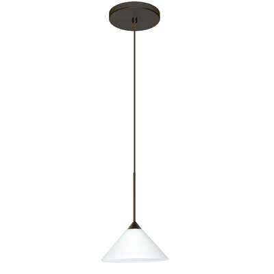 Kona 1-Light Mini Pendant Finish: Bronze, Shade Color: White, Bulb Type: LED