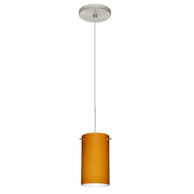 Stilo 1 Integrated Bulb Mini Pendant Finish: Satin Nickel, Shade Color: Amber Matte, Bulb Type: Halogen