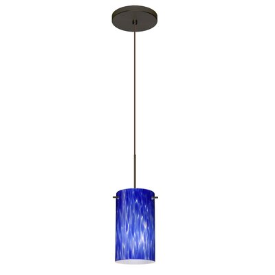 Stilo 1 Integrated Bulb Mini Pendant Finish: Bronze, Shade Color: Blue Cloud, Bulb Type: Halogen