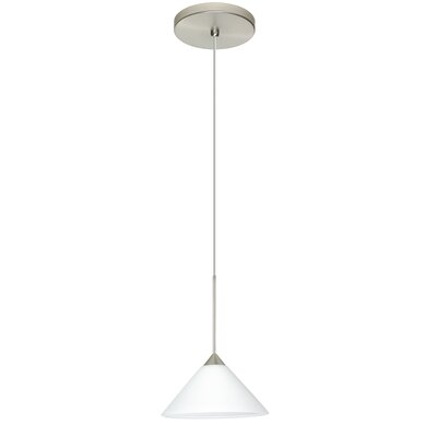 Kona 1-Light Mini Pendant Finish: Satin Nickel, Shade Color: White, Bulb Type: Halogen
