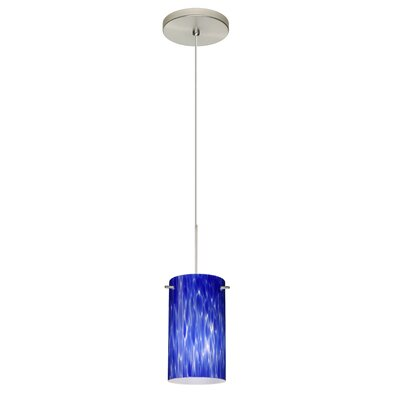 Stilo 1 Integrated Bulb Mini Pendant Finish: Satin Nickel, Shade Color: Blue Cloud, Bulb Type: Halogen