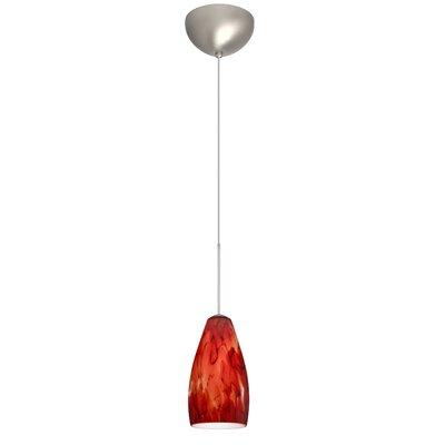 Karli 1 Light Mini Pendant Finish: Satin Nickel, Glass Shade: Garnet, Bulb Type: LED