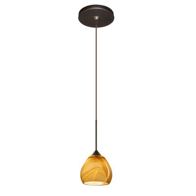 Tay Tay 1 Light Mini Pendant Finish: Bronze, Glass Shade: Ceylon