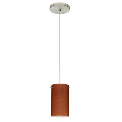 Stilo 1-Light Mini Pendant Shade Color: Cherry, Bulb Type: Halogen, Finish: Satin Nickel