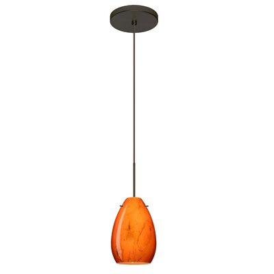 Pera 1 Integrated Bulb Mini Pendant Finish: Bronze, Bulb Type: Halogen