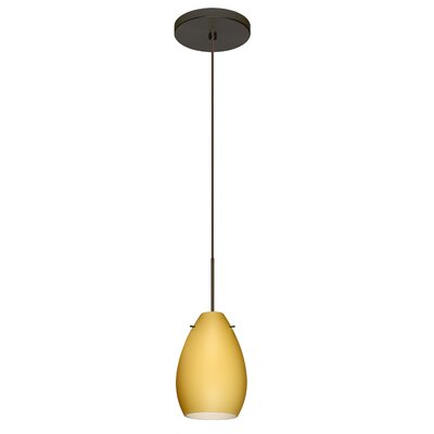 Pera 1 LED Integrated Bulb Mini Pendant Finish: Bronze, Bulb Type: Halogen, Shade Color: Vanilla Matte