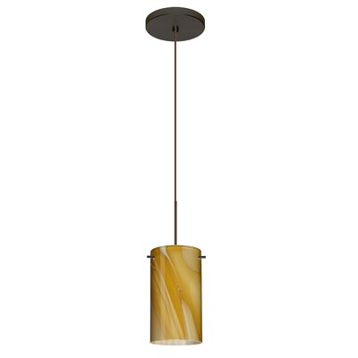Stilo 1 Integrated Bulb Mini Pendant Finish: Bronze, Bulb Type: Halogen