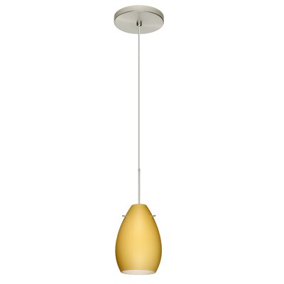 Pera 1 Integrated Bulb Mini Pendant Finish: Satin Nickel, Shade Color: Vanilla Matte, Bulb Type: Halogen