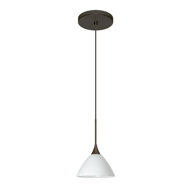Domi 1-Light Mini Pendant Finish: Bronze, Shade Color: White, Bulb Type: Halogen