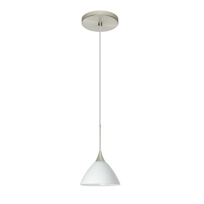 Domi 1-Light Mini Pendant Bulb Type: LED, Finish: Satin Nickel, Shade Color: White