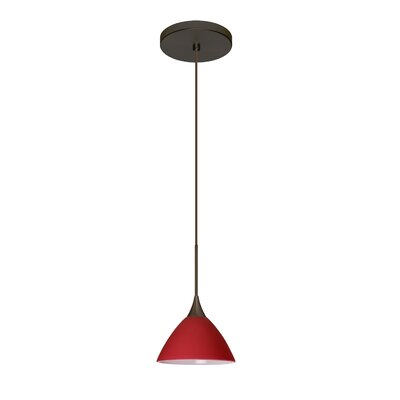 Domi 1-Light Mini Pendant Finish: Bronze, Bulb Type: Halogen, Shade Color: Red Matte